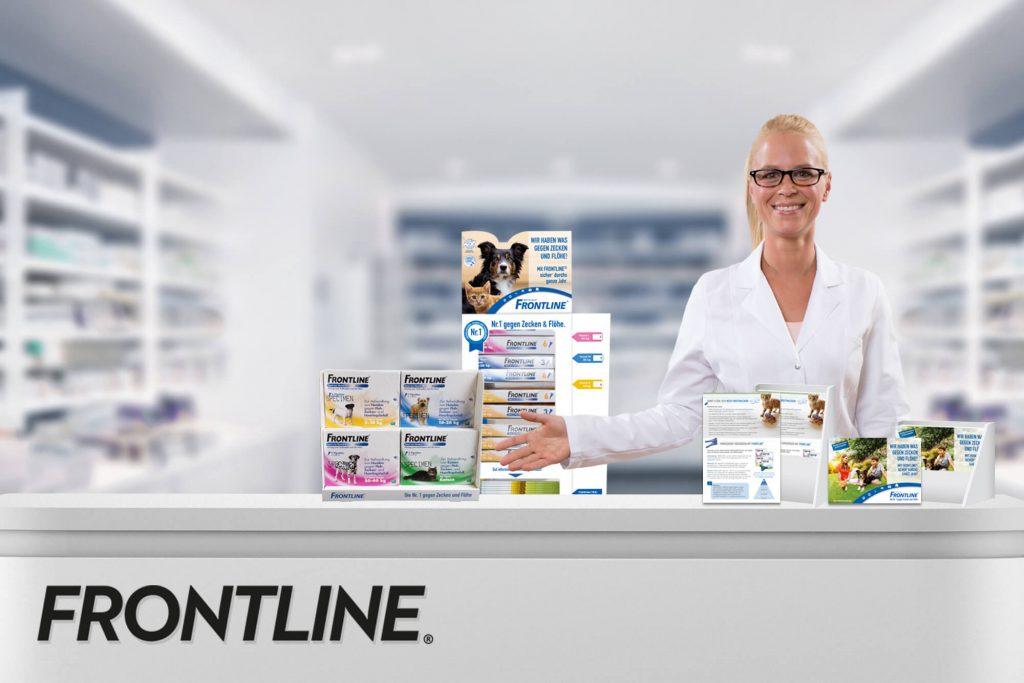 Frontline Produkte und PTA in Apotheke