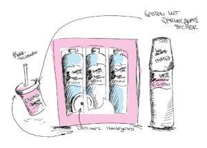 Evian Konzeption Flaschen